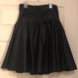 Black silky waist hugging skirt with tulle